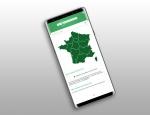 Carte de sélection de randonnée  de l'application Android et iOS Sentiers en France