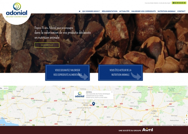 Page d'accueil du site Internet Adonial à Vannes dans le Morbihan 56