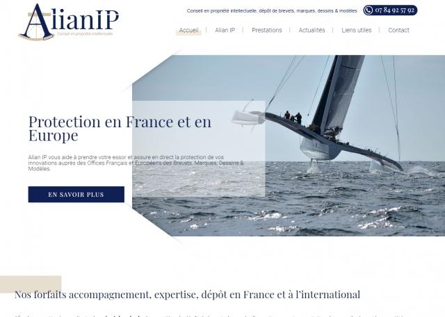 Page d'accueil du site Internet Alian IP dépôt de brevet à Vannes dans le Morbihan 56
