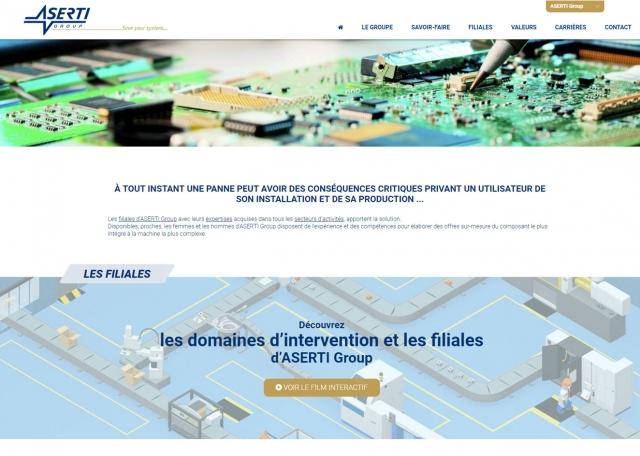 Page d'accueil du site Internet Aserti Group à Vannes dans le Morbihan 56