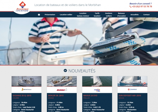 Page d'accueil du site Internet Atlantique Location à Vannes dans le Morbihan 56