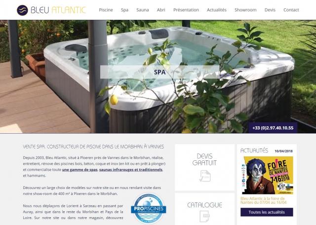 Page d'accueil du site Bleu Atlantic SPA et Piscines à Vannes dans le Morbihan 56