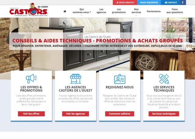 Page d'accueil du site Castors de l'Ouest, promotions et achats groupés à Vannes dans le Morbihan 56