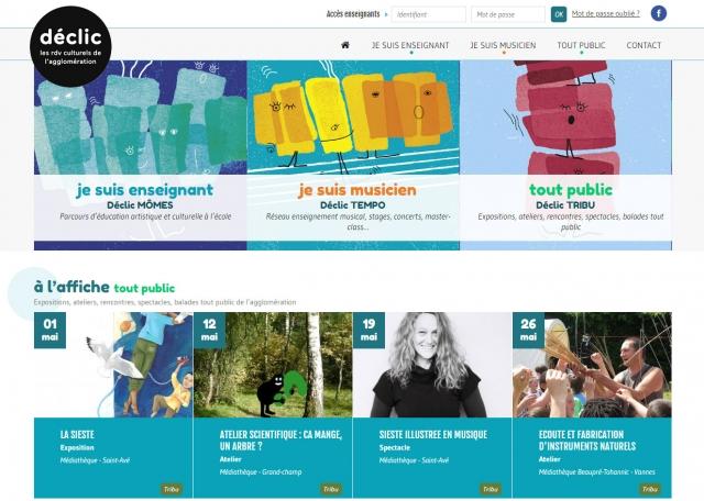 Page d'accueil du site Internet Déclic Vannes Agglo à Vannes dans le Morbihan 56