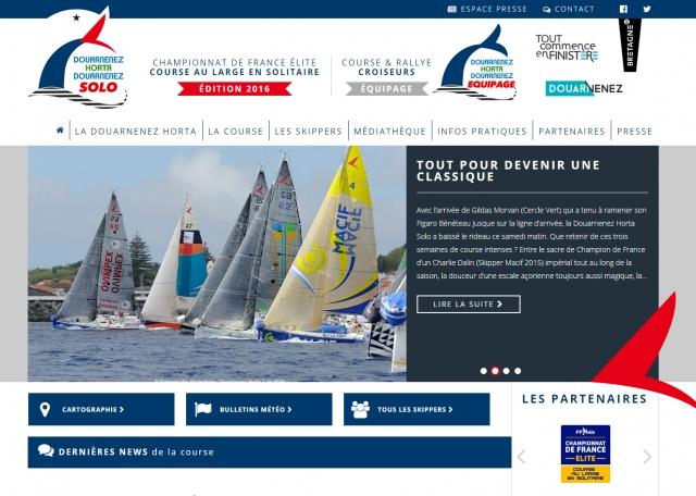Page d'accueil du site Internet Douarnenez Horta, course de voile à Vannes dans le Morbihan (56)