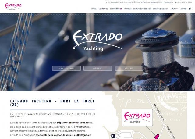 Page d'accueil du site Internet Extrado Yachting, entretien et location de voiliers à Vannes dans le Morbihan 56