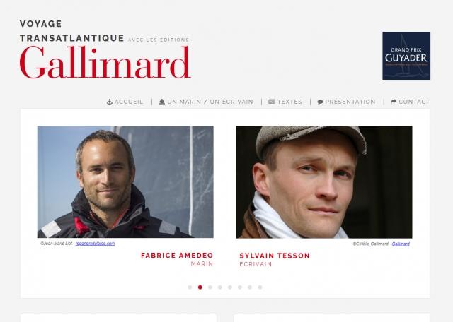 Page d'accueil du site Internet Voyage Transatlantique Gallimard à Vannes dans le Morbihan 56
