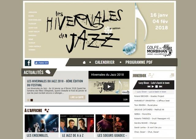 Page d'accueil du site Internet Hivernales du Jazz à Vannes dans le Morbihan 56