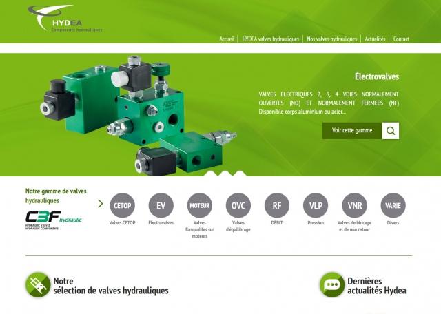Page d'accueil du site Internet Hydea, composants hydrauliques à Vannes dans le Morbihan 56