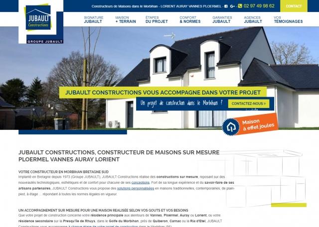 Page d'accueil du site Internet Jubault constructions Morbihan 56