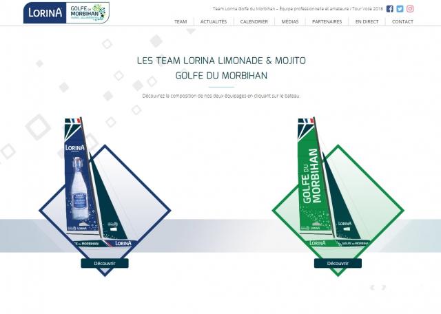 Page d'accueil du site Internet Team Lorina Golfe Morbihan à Vannes dans le Morbihan 56