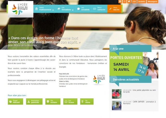Page d'accueil du site Internet Lycée Anne de Bretagne à Vannes dans le Morbihan 56