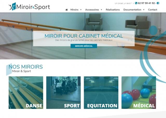 Page d'accueil du site Internet Miroir & Sport à Vannes dans le Morbihan 56