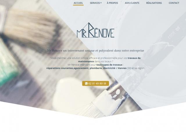 Page d'accueil du site Internet Mr rénove à Vannes dans le Morbihan 56