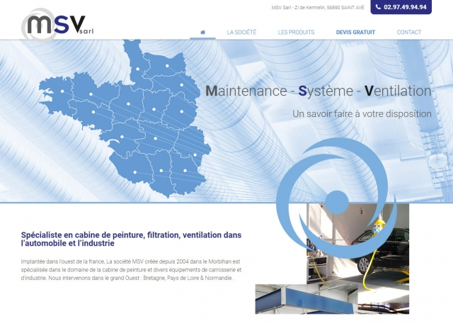 Page d'accueil du site Internet MSV Sarl à Vannes dans le Morbihan 56