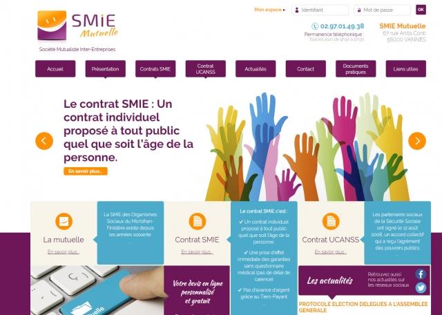 Page d'accueil du site Internet Mutuelles SMIE à Vannes dans le Morbihan 56