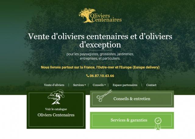 Page d'accueil du site Oliviers Centenaires à Vannes dans le Morbihan 56