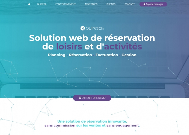 Page d'accueil du site Internet Ouirésa, Solution web de réservation à Vannes dans le Morbihan 56