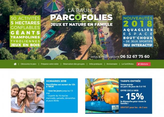 Page d'accueil du site Internet ParcOfolies - Parc de jeux à Vannes dans le Morbihan 56