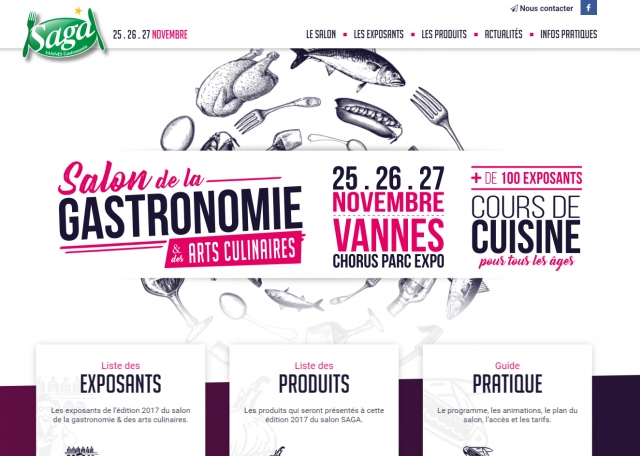 Page d'accueil du site Internet Salon de la Gastronomie Vannes (56)