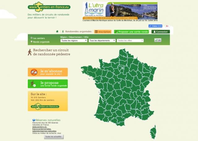 Page d'accueil du site Internet Sentiers en France à Vannes dans le Morbihan 56