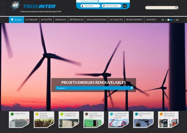 Page d'accueil du site Internet Techinter à Vannes dans le Morbihan 56
