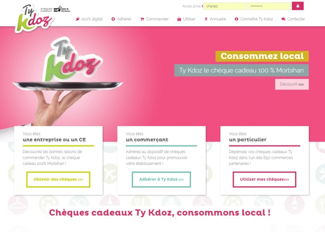 Page d'accueil du site Internet TyKdoz, chèques cadeaux à Vannes dans le Morbihan 56