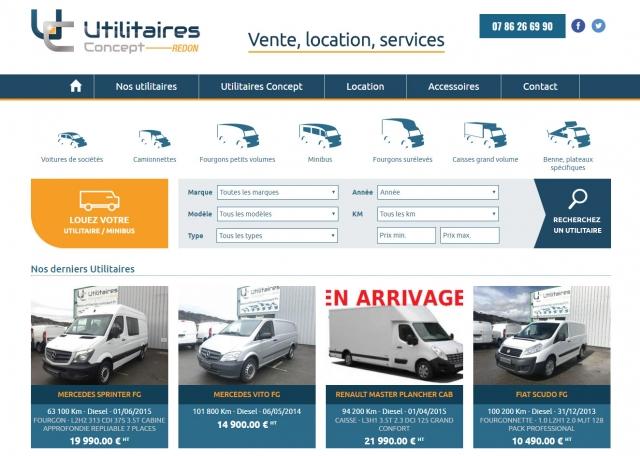 Page d'accueil du site Internet Utilitaires Concept à Vannes dans le Morbihan 56