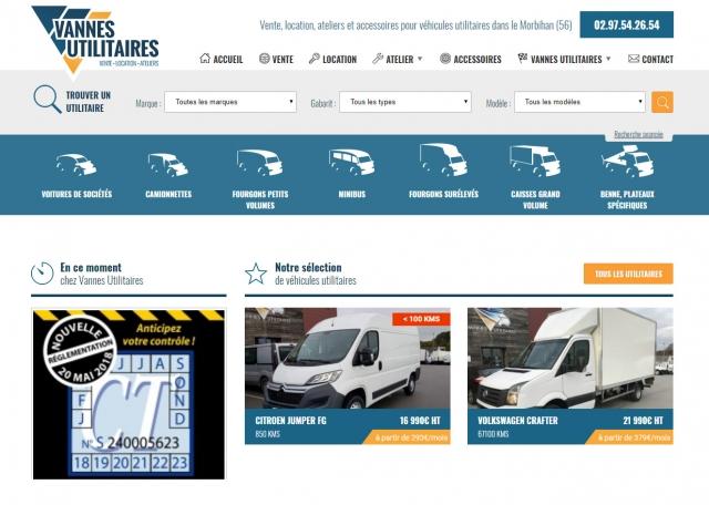 Page d'accueil du site Internet Vannes-utilitaires à Vannes dans le Morbihan 56