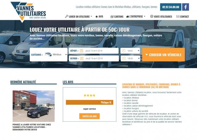 Page d'accueil du site Internet Location Vannes Utilitaires à Vannes dans le Morbihan 56