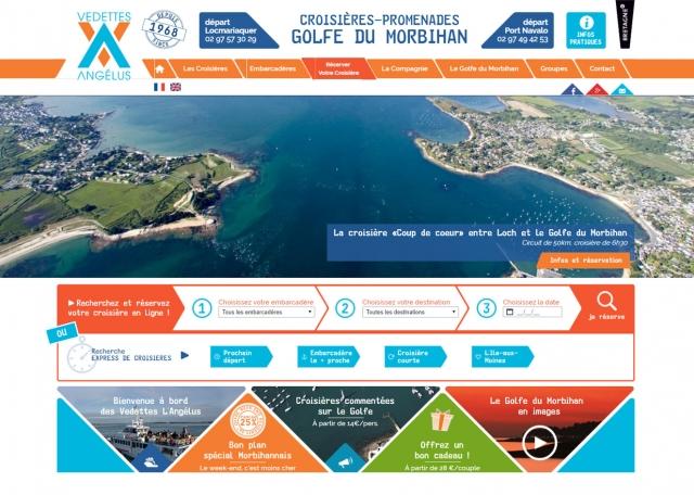 Page d'accueil du site Internet Vedettes l'Angelus à Vannes dans le Morbihan 56