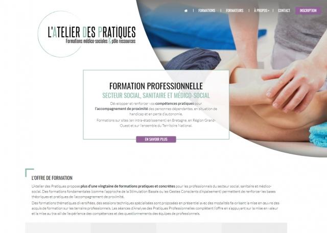 Page d'accueil du site Internet l'Atelier des Pratiques à Vannes dans le Morbihan 56