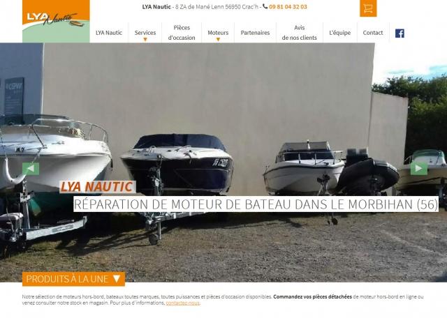 Page d'accueil du site Internet LYA Nautic à Vannes dans le Morbihan 56