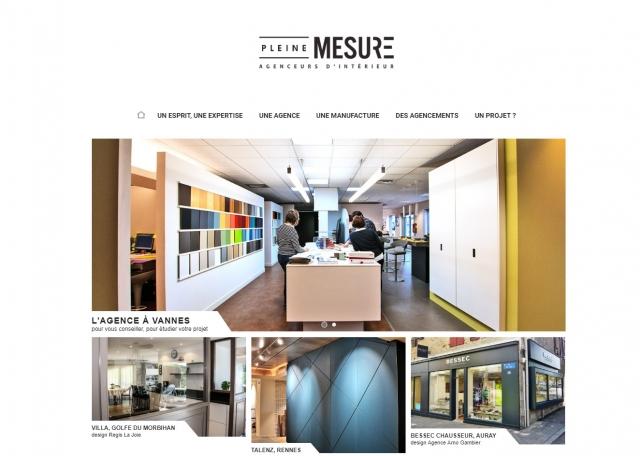 Page d'accueil du site Internet Pleine Mesure à Vannes dans le Morbihan 56