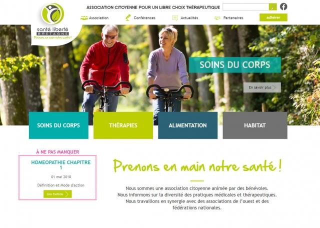 Page d'accueil du site Internet Santé Liberté Bretagne à Vannes dans le Morbihan 56