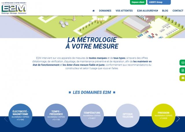 Page d'accueil du site Internet E2M