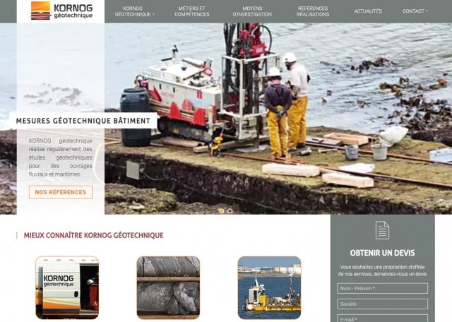 Page d'accueil du site Internet Kornog à Vannes dans le Morbihan 56