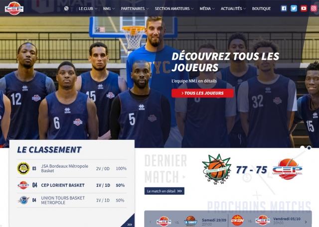Page d'accueil du site Internet CEP lorient Basket