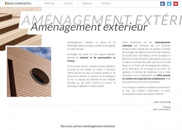 Page d'accueil du site Internet / blog Bois-composite.fr