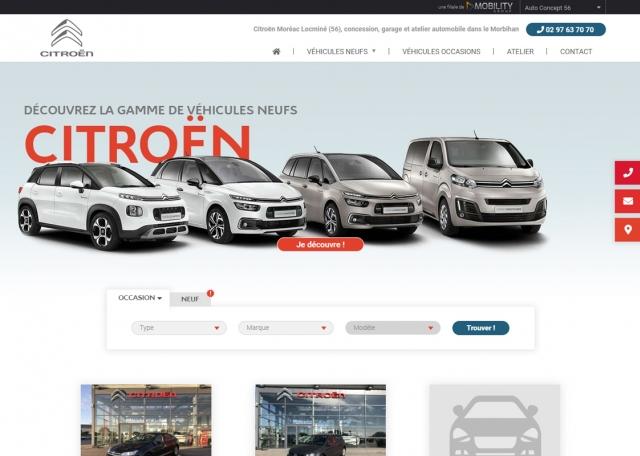 Page d'accueil du site internet Citroën Locminé Moréac