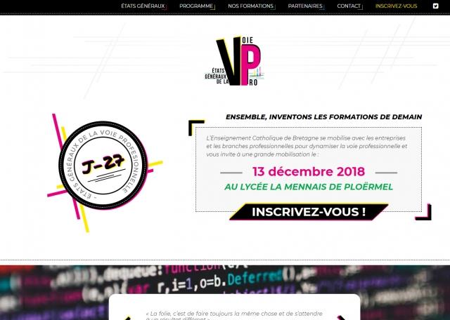 Page d'accueil du site Internet Voie Pro