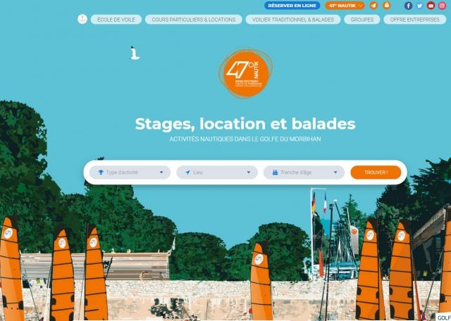 Page d'accueil animée du site Internet 47 Nautik - Création de site Internet Morbihan 56