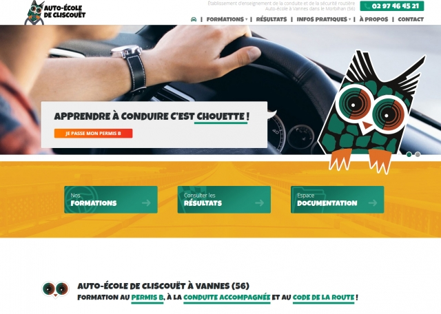 Page d'accueil du site Internet de l'Auto-école de Cliscouët à Vannes - Agence web Grouplive Vannes et Lorient 56
