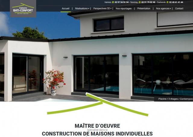 Page d'accueil site internet vitrine Bati Confort - Agence web Grouplive à Vannes et Lorient