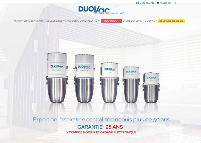 Page d'accueil de la boutique en ligne e-commerce responsive Duovac - Création de sites : Grouplive à Vannes et Lorient