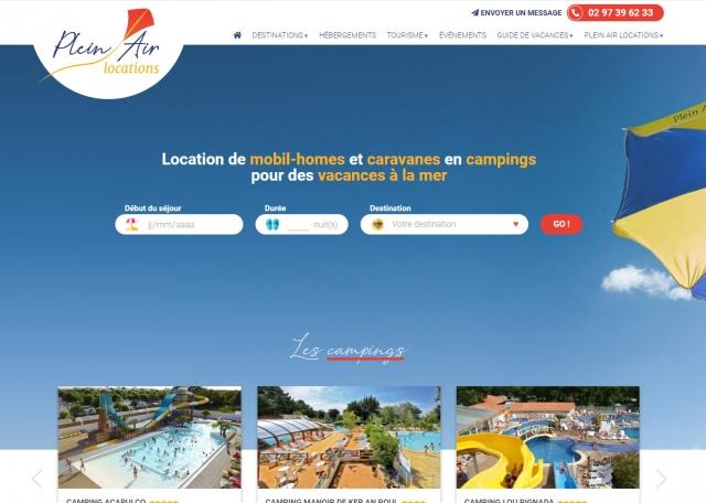 Page d'accueil de la plateforme de réservation Plein Air Locations - Création du site agence web Grouplive à Vannes et Lorient
