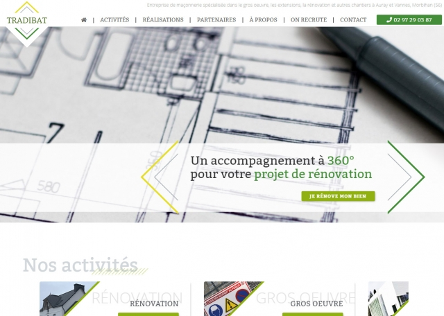 Page d'accueil site web vitrine responsive Tradibat Auray, Vannes 56 - Agence web Grouplive à Vannes et Lorient