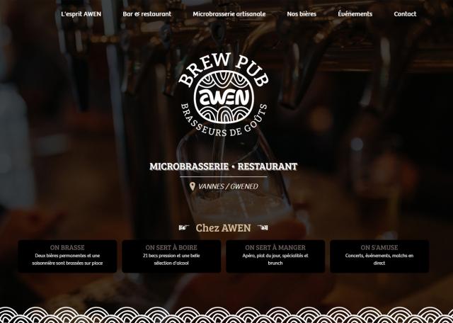 Page d'accueil de la Brasserie Awen dans le Morbihan (56)