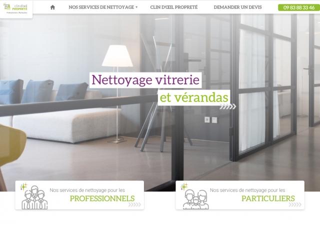 Page d'accueil du site Internet Clin d'œil propreté