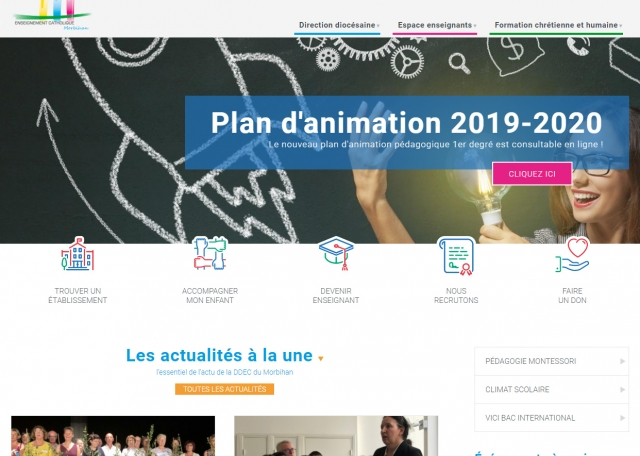 Page d'accueil de l'enseignement Catholique du Morbihan (56)